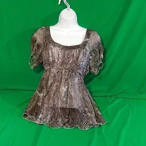 Tahari small silk brown/white short sleeve blouse